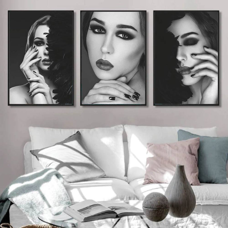 Shaded Beauty Canvas Art Set of 3 / 40 x 50cm / No Board - Canvas Print Only Clock Canvas