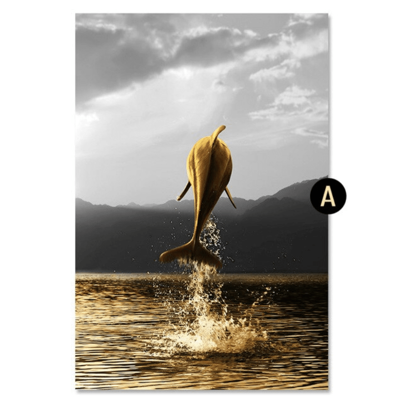 Shining Dolphin Canvas Art A / 40 x 50cm / No Board - Canvas Print Only Clock Canvas