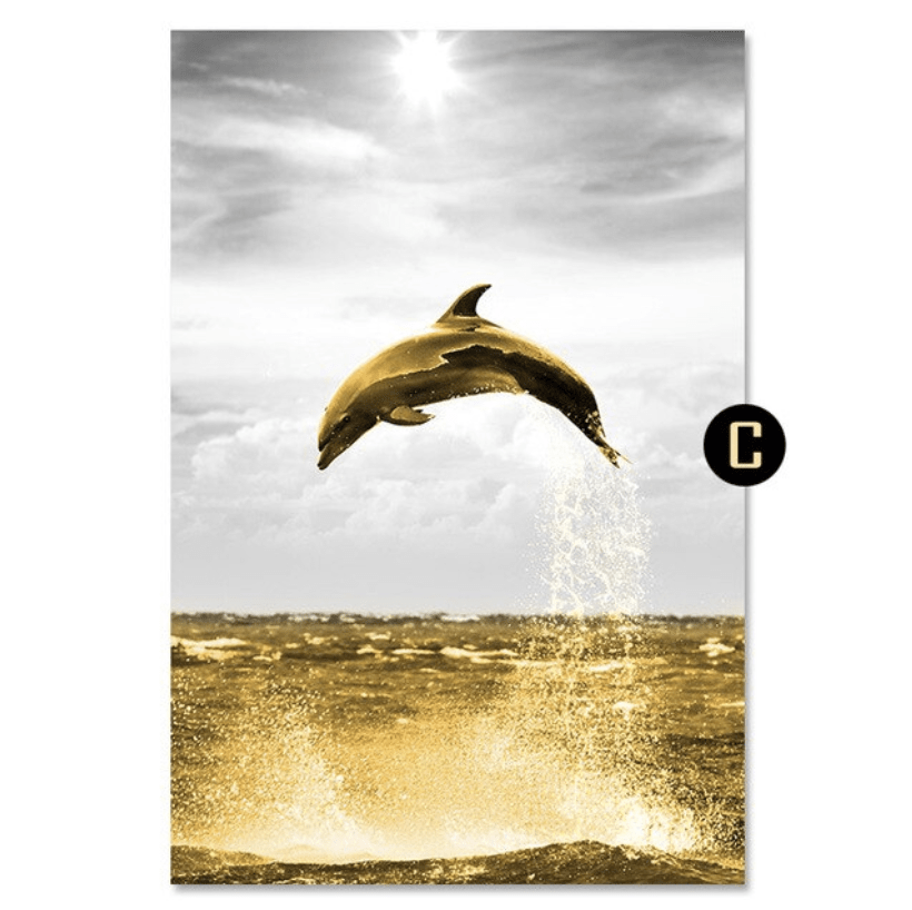 Shining Dolphin Canvas Art C / 40 x 50cm / No Board - Canvas Print Only Clock Canvas