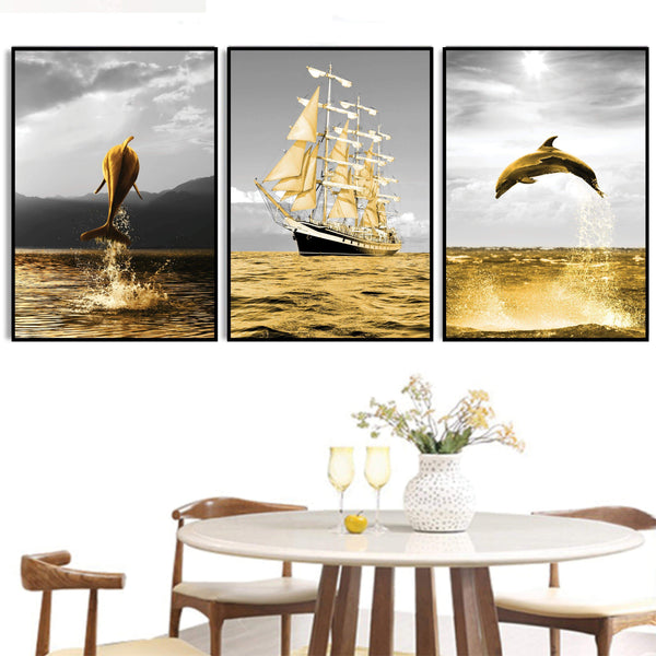 Shining Dolphin Canvas Art Set of 3 / 40 x 50cm / No Board - Canvas Print Only Clock Canvas