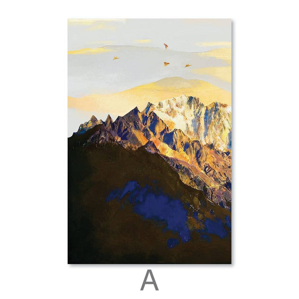 Shining Mountains Canvas Art A / 40 x 50cm / Unframed Canvas Print Clock Canvas