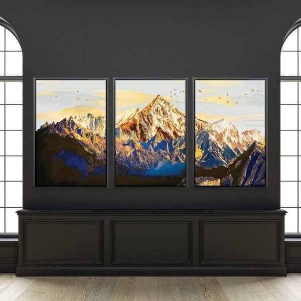 Shining Mountains Canvas Art Set of 3 / 40 x 50cm / Unframed Canvas Print Clock Canvas