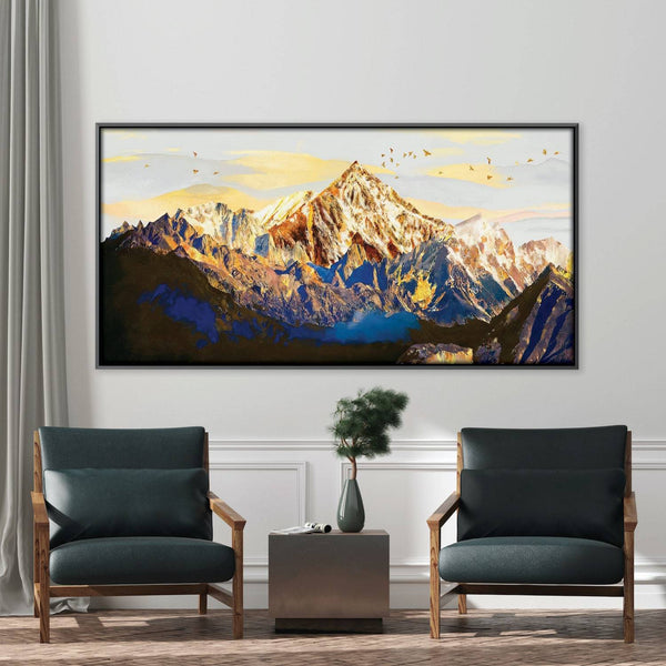 Shining Mountains Canvas - Single Panel Art Clock Canvas