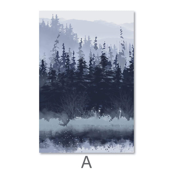 Slated Forest Canvas Art A / 40 x 50cm / Unframed Canvas Print Clock Canvas