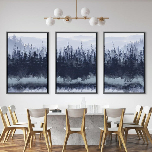 Slated Forest Canvas Art Set of 3 / 40 x 50cm / Unframed Canvas Print Clock Canvas