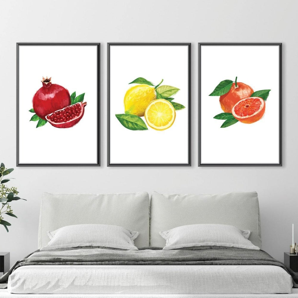 Sliced Fruit Canvas Art Set of 3 / 30 x 45cm / Unframed Canvas Print Clock Canvas