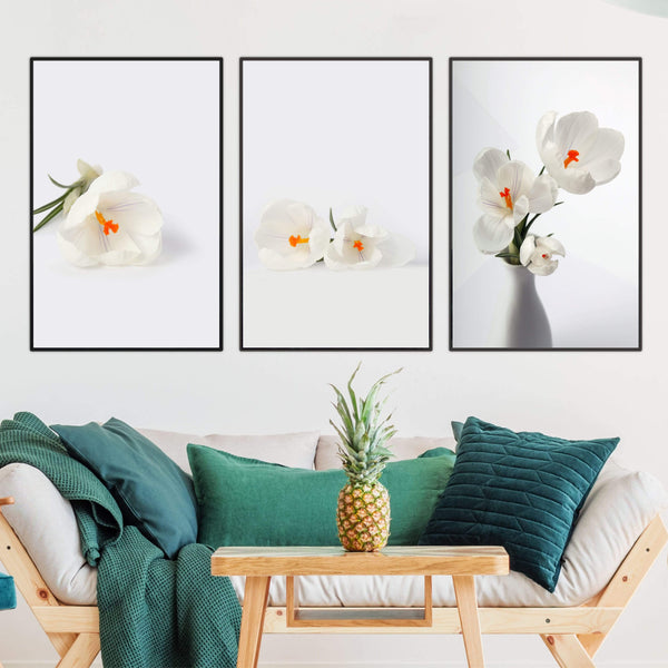 Snowdrop Flowers Canvas Art Set of 3 / 40 x 50cm / No Board - Canvas Print Only Clock Canvas