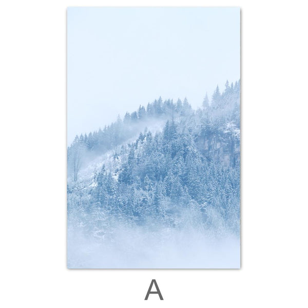 Snowy Mountain Canvas Art A / 40 x 50cm / No Board - Canvas Print Only Clock Canvas