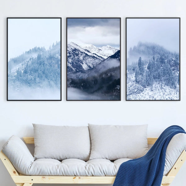 Snowy Mountain Canvas Art Set of 3 / 40 x 50cm / No Board - Canvas Print Only Clock Canvas