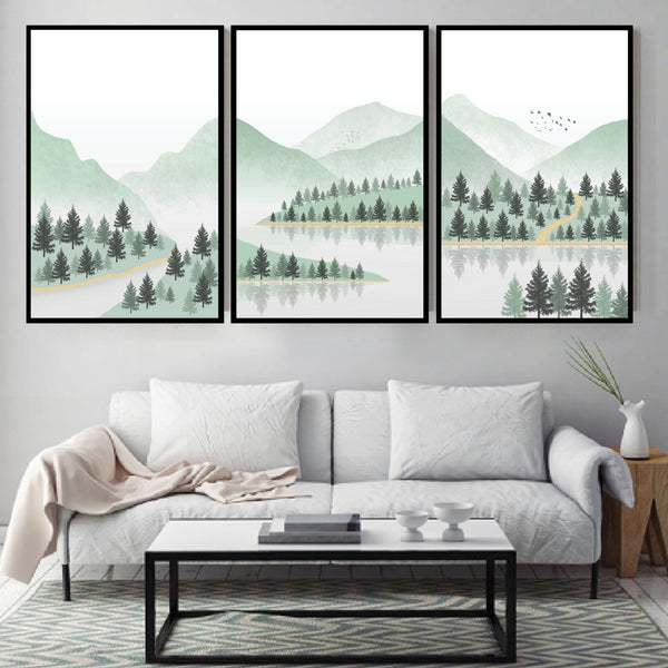Summer Wilderness Canvas Art Set of 3 / 40 x 50cm / No Board - Canvas Print Only Clock Canvas