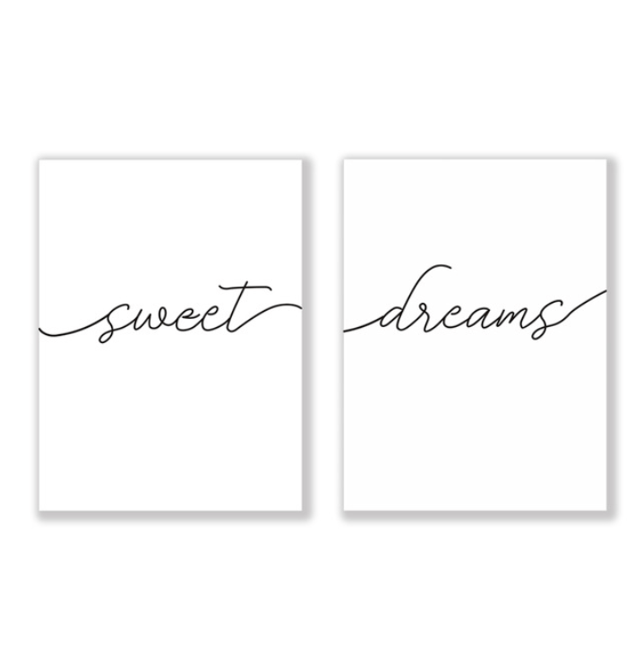 Sweet Dreams Canvas Art Set of 2 / 40 x 50cm / No Board - Canvas Print Only Clock Canvas