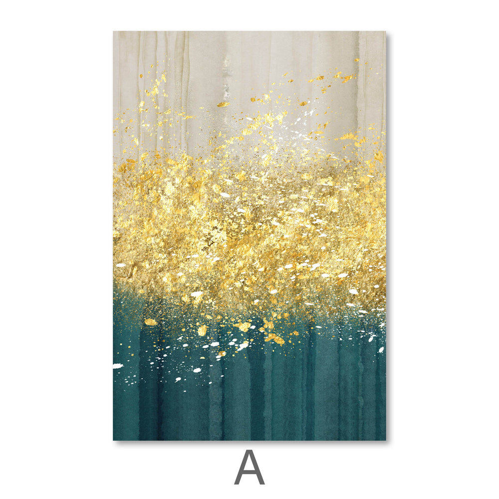 The Golden Splash Canvas Art A / 40 x 50cm / No Board - Canvas Print Only Clock Canvas