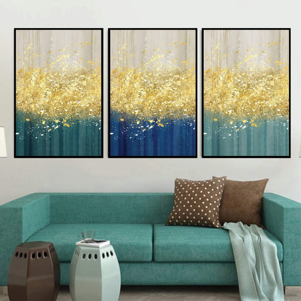 The Golden Splash Canvas Art Set of 3 / 40 x 50cm / No Board - Canvas Print Only Clock Canvas