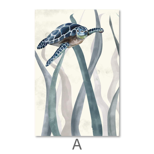 Tranquil Turtles Canvas Art A / 40 x 50cm / Unframed Canvas Print Clock Canvas