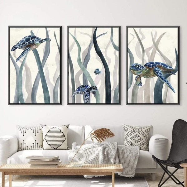 Tranquil Turtles Canvas Art Set of 3 / 40 x 50cm / Unframed Canvas Print Clock Canvas