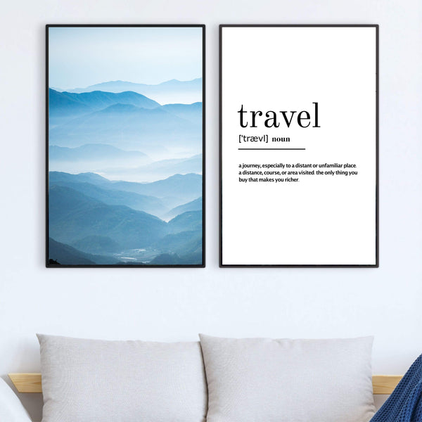 Travel Definition Canvas Art Set of 2 / 40 x 50cm / No Board - Canvas Print Only Clock Canvas