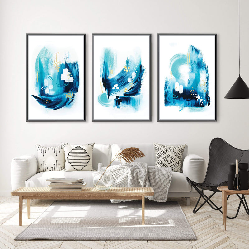 Trident Seas Canvas Art Set of 3 / 40 x 50cm / No Board - Canvas Print Only Clock Canvas