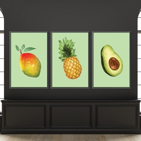 Tropical Fruit Canvas Art Set of 3 / 30 x 45cm / Unframed Canvas Print Clock Canvas
