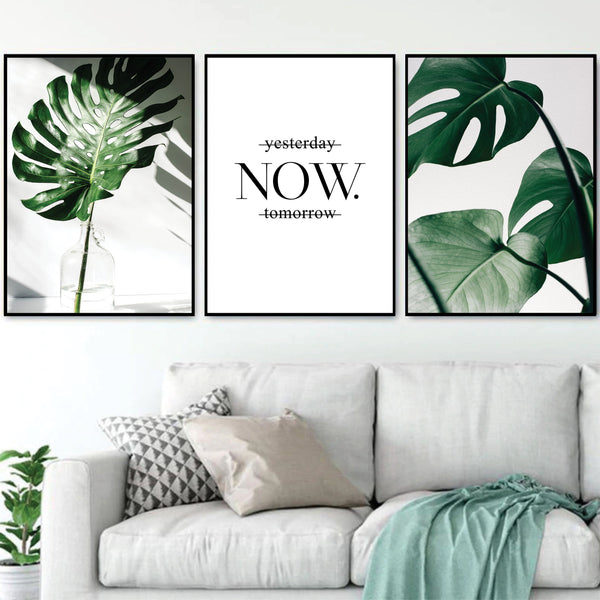 Tropical Leaf Canvas Art Set of 3 / 40 x 60cm / No Board - Canvas Print Only Clock Canvas