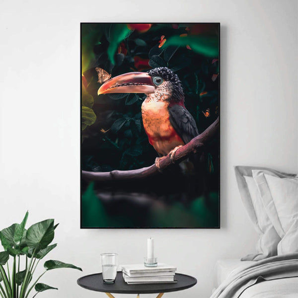 Tropical Toucan Canvas Art Clock Canvas