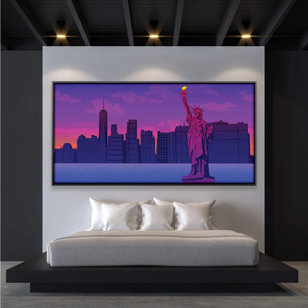 Twilight Liberty Canvas Art Clock Canvas