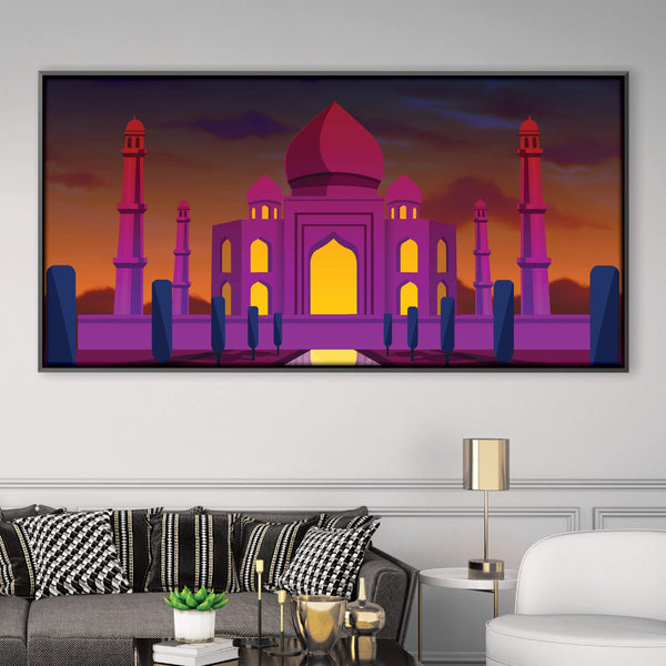 Twilight Taj Mahal Canvas Art Clock Canvas