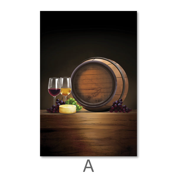 Vintage Wine Canvas Art A / 40 x 50cm / No Board - Canvas Print Only Clock Canvas