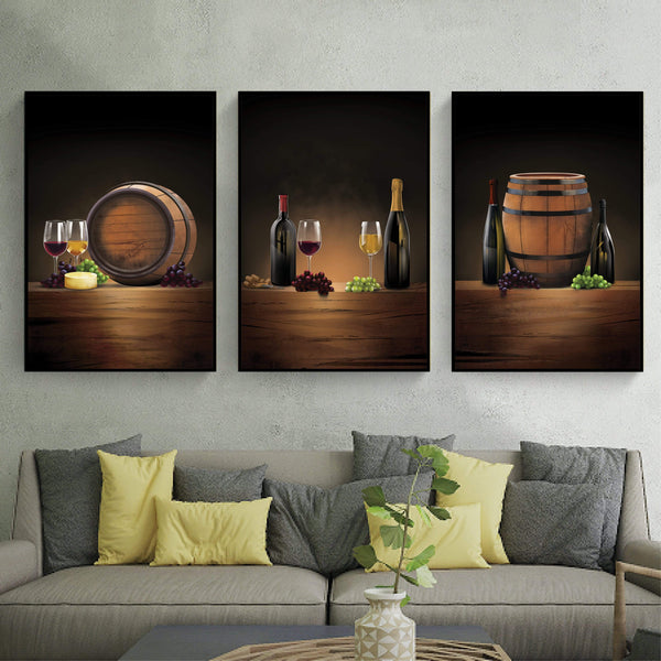 Vintage Wine Canvas Art Set of 3 / 40 x 50cm / No Board - Canvas Print Only Clock Canvas