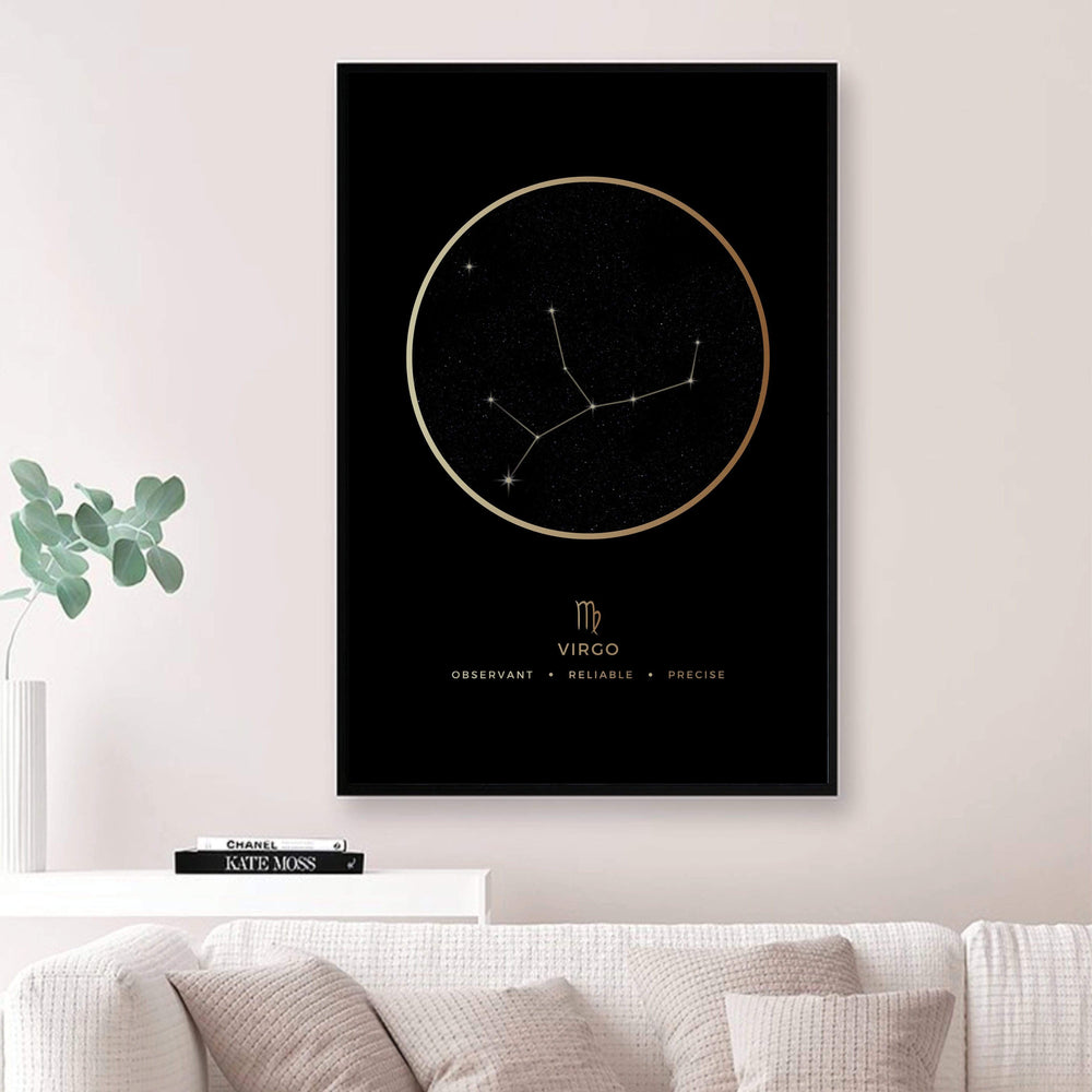 Virgo Traits Gold Canvas Art Clock Canvas