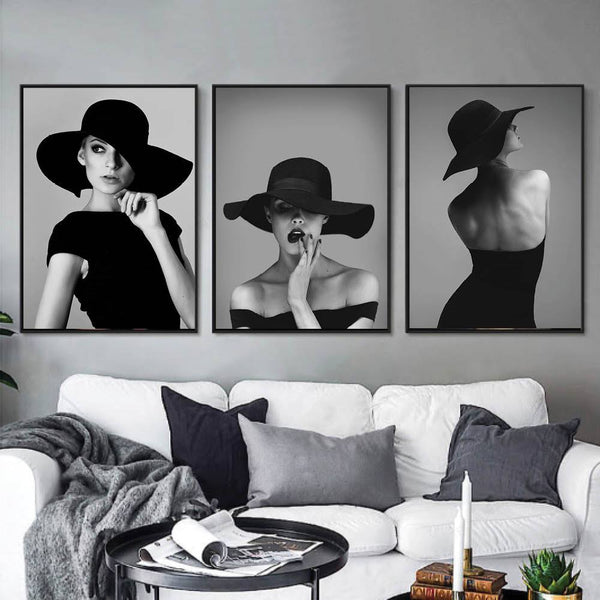 Vogue Woman Canvas Art Set of 3 / 40 x 50cm / No Board - Canvas Print Only Clock Canvas