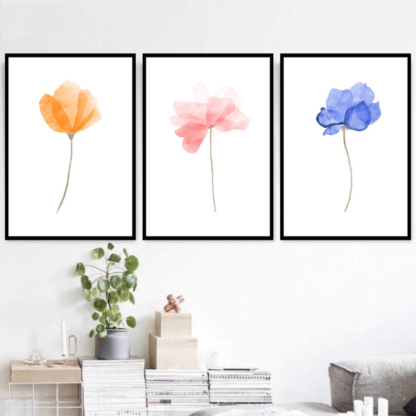 Watercolor Flowers Canvas Art Set of 3 / 40 x 50cm / No Board - Canvas Print Only Clock Canvas
