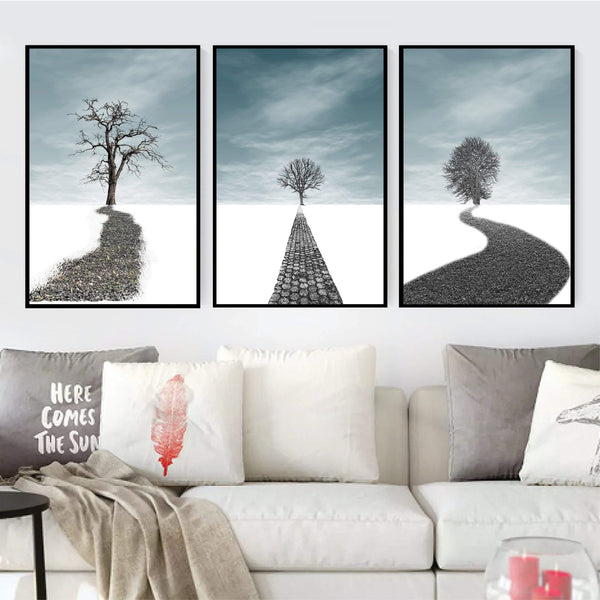 Winter Forest Canvas Art Set of 3 / 40 x 50cm / No Board - Canvas Print Only Clock Canvas