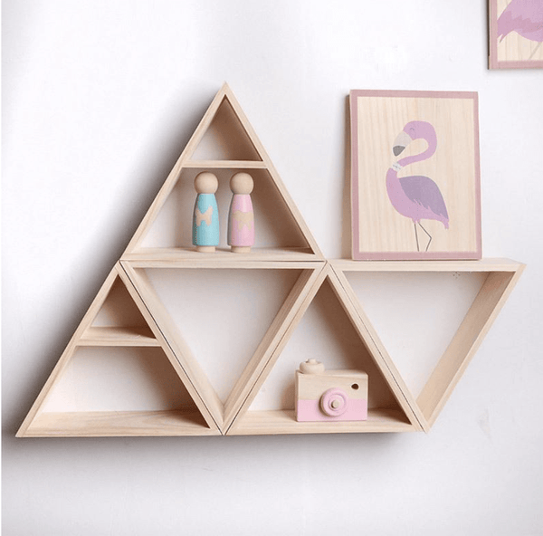 Wooden Triangle Shelf Clock Canvas