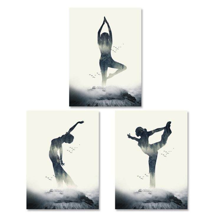 Yoga Abstract Canvas Art Set of 3 / 40 x 50cm / No Board - Canvas Print Only Clock Canvas