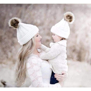 Mom And Baby Beanies Set