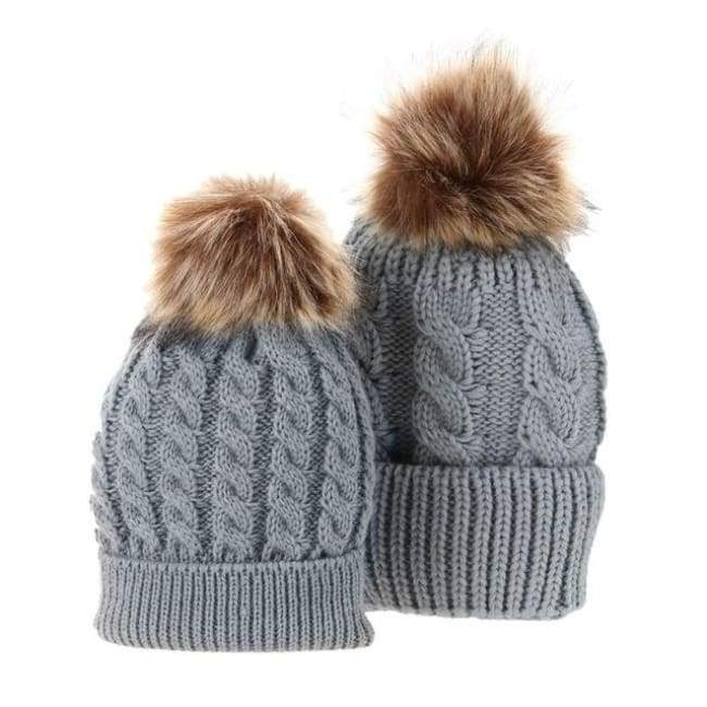 Mom And Baby Beanies Set - Gray
