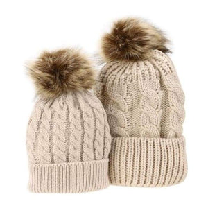 Mom And Baby Beanies Set - Khaki