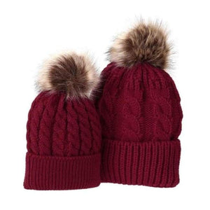 Mom And Baby Beanies Set - Red