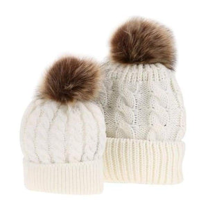 Mom And Baby Beanies Set - White