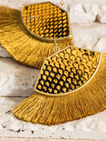 Snakeskin Print Fringe Earrings | Mustard