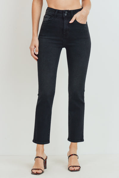Double Button Straight Jeans | Washed Black