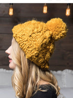 Cable Knit Beanie with Pom Pom | Choose Color