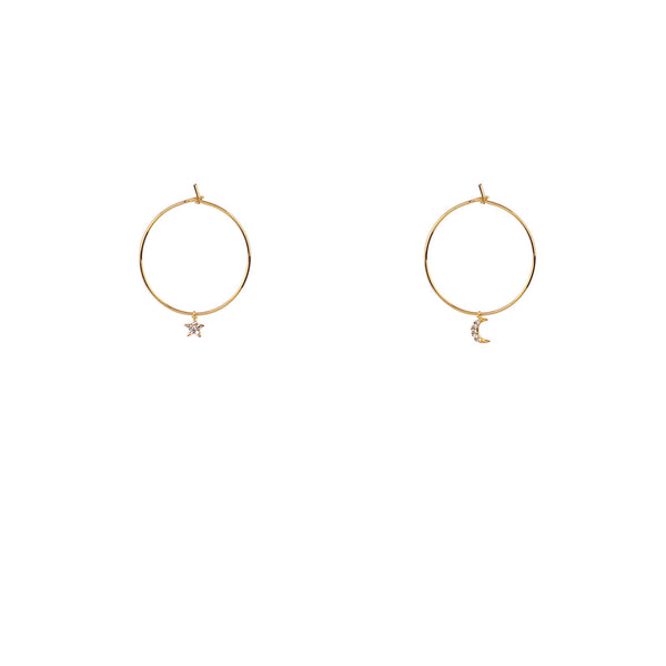 Moon Star Hoop Earrings | Gold
