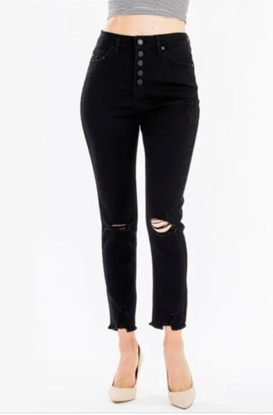 High Rise Button Fly Classic Skinny Jeans | Black