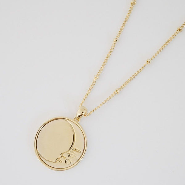Moon Face Pendant Necklace | Gold
