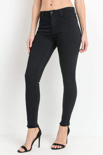 High Rise Frayed Skinny Jeans | Black