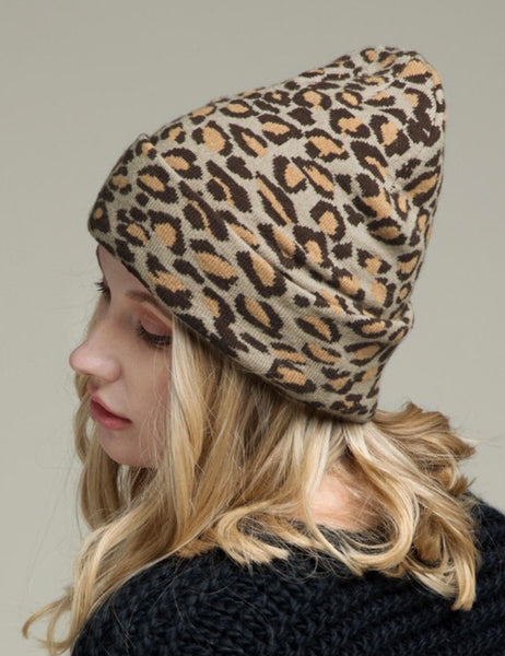 Leopard Knit Beanie | Choose Color