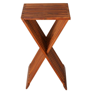 Bare Decor Taj Folding Plantstand End Table in Solid Teak Wood, 28
