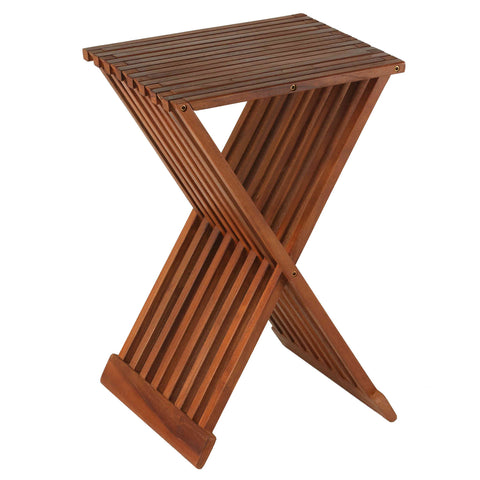"Image of Bare Decor Leaf Folding Counterstool in Solid Teak Wood 24"" high"