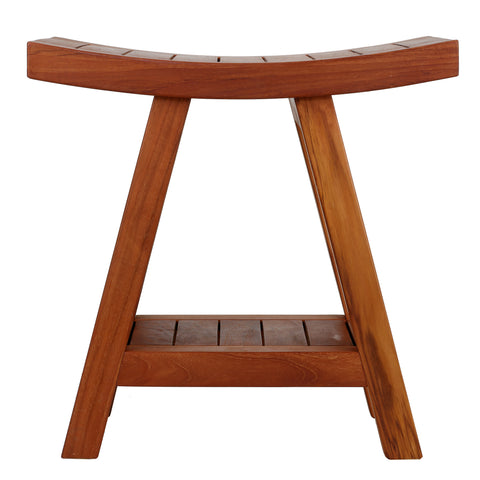 Image of Bare Decor Niles Bench Stool with Shelf in Solid Teak Wood